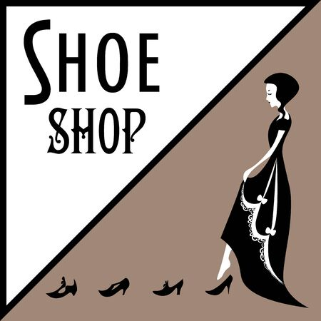 Old-fashioned lady in victorian gown trying on shoes on sepia background Ilustração