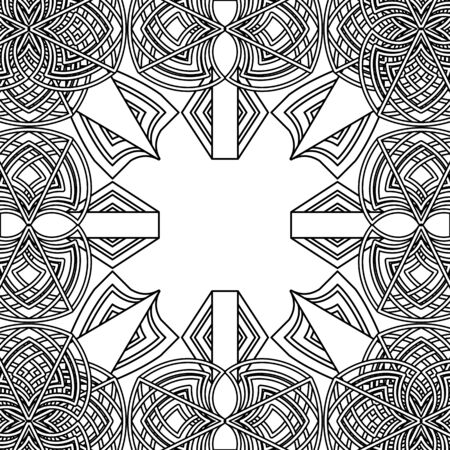 Black and white abstract floral old gothic background or frame