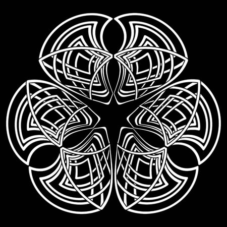 Black and white triple gothic symbol in tribal celtic style