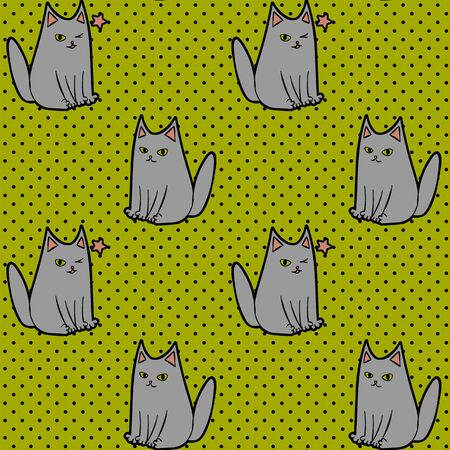 Cute seamless pattern with sitting and winking cartoon cat on dotted green background Vetores