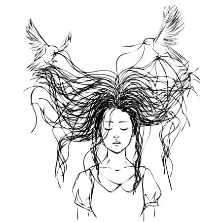 Sketch with birds flying around and pecking hair of sad girl with closed eyes