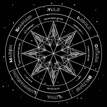 Geometric octagonal star in pagan wheel of the year on starry space background Vector Illustration