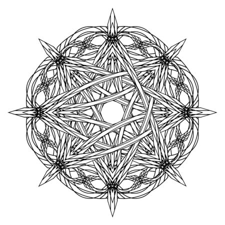 Black and white entwined gothic octagonal star in ancient style Illustration