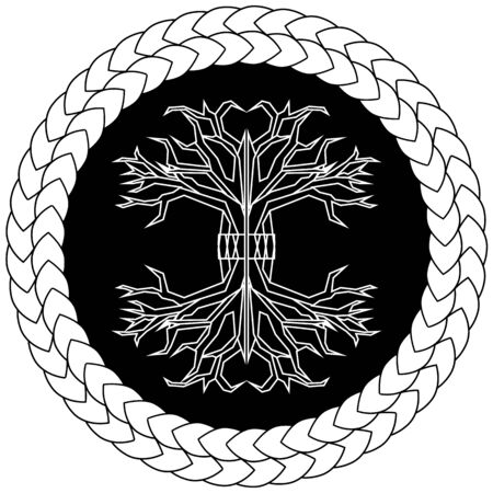 Contour old scandinavian pagan tree of life yggdrasil in knotted circle  イラスト・ベクター素材