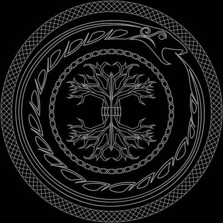 Konturieren Sie alte skandinavische heidnische Symbole Yggdrasil und Ouroboros in verzierten Kreisen