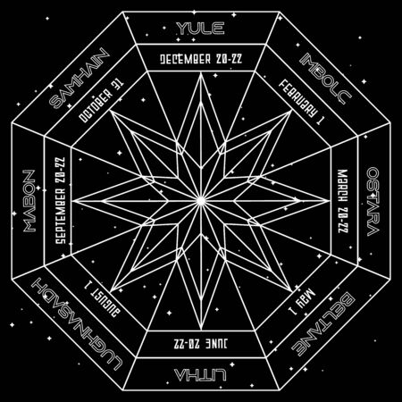 Geometric octagonal star in pagan wheel of the year on space background Vector Illustration