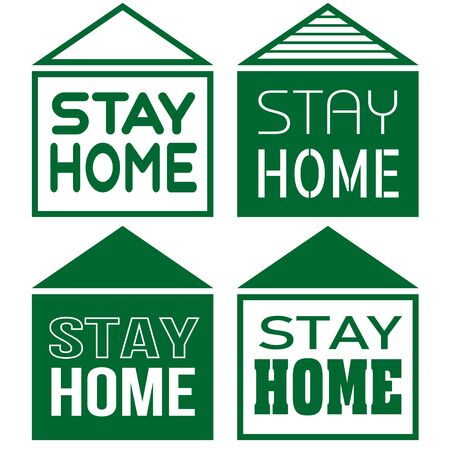 Four contour minimal simple green houses with text stay home
