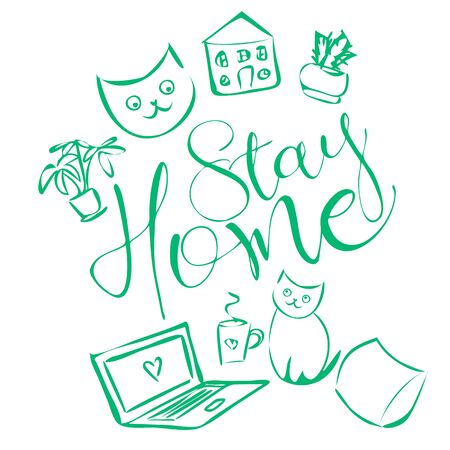 Cute and cozy illustration with text stay home, cats, home plants, house, pillow, notebook and cup of tea 向量圖像