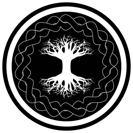 Black and white icon with yggdrasil - viking tree of life in the celtic ornamented circle  イラスト・ベクター素材