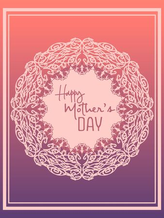 elegant pink greeting card for mother's day in delicate lace frame