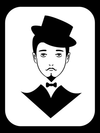 Black and white icon with vintage gentleman in tuxedo and hat Иллюстрация