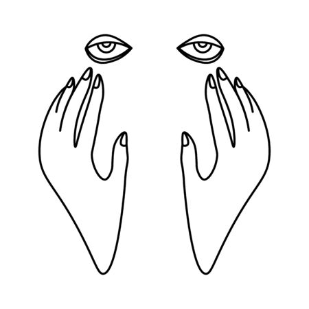 Minimal black and white line art with hands on tired face