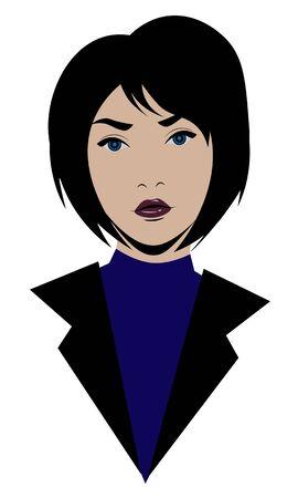 Portrait of elegant blue eyed shorthaired brunette woman in turtleneck
