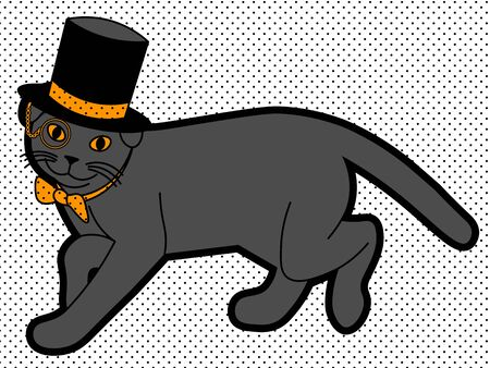 cute illustration of walking black cat with monocle in the cylinder and bowtie Illustration