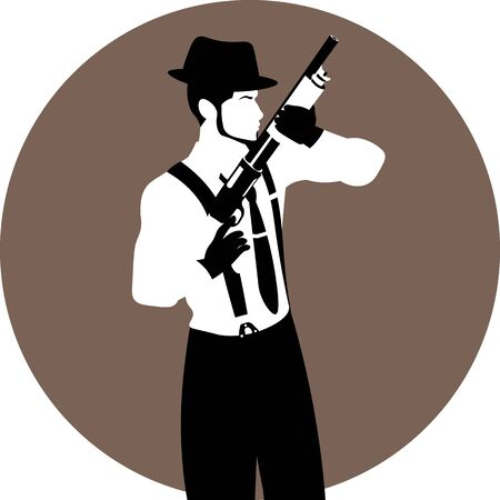 faceless vintage man in hat and black gloves with a shotgun