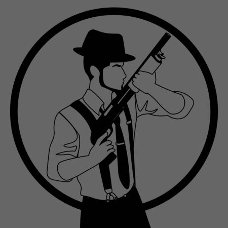 black and grey icon with line art of old-fashioned faceless man in hat with a shotgun Stock Illustratie