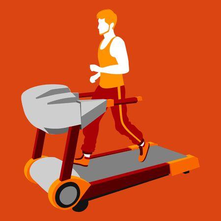 colorful illustration of ginger bearded faceless man running on the treadmill on orange background Ilustracje wektorowe