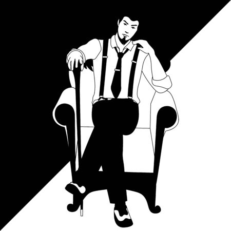 black and white line art of old-fashioned man with a cane sitting on the armchair