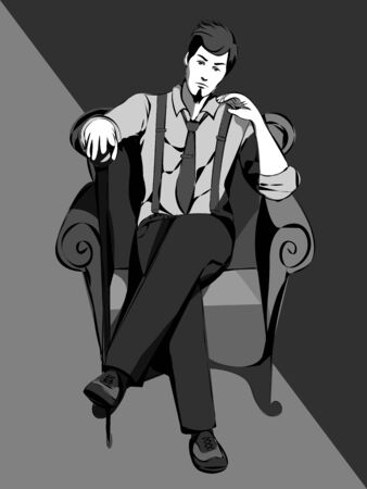 monochrome gray illustration of vintage man with a cane sitting on the armchair Stock Illustratie