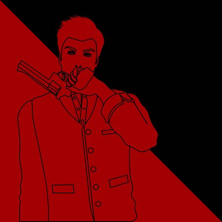 black and red contour drawing of old-fashioned man holding a revolver Stock Illustratie