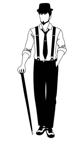old-fashioned faceless man in hat and suspenders walking with a cane