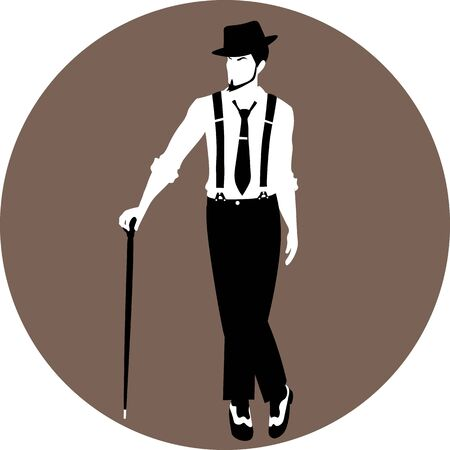 faceless vintage man in hat and suspenders standing with a cane