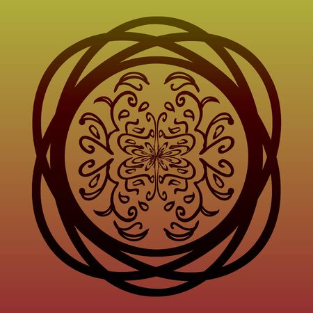 elegant entwined circle with eastern floral tracery on gradient background Vectores