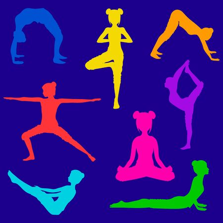 set of eight colorful silhouettes of girls doing yoga poses on blue background