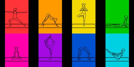 bright colorful seamless pattern or set with outline girls doing yoga poses