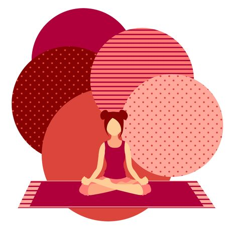 colorful illustration with cute faceless gril doing lotus asana on pink background