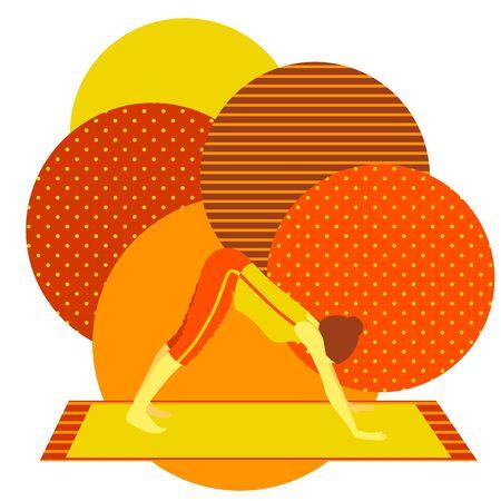 colorful illustration with cute faceless gril doing downward facing dog asana on orange background Illustration