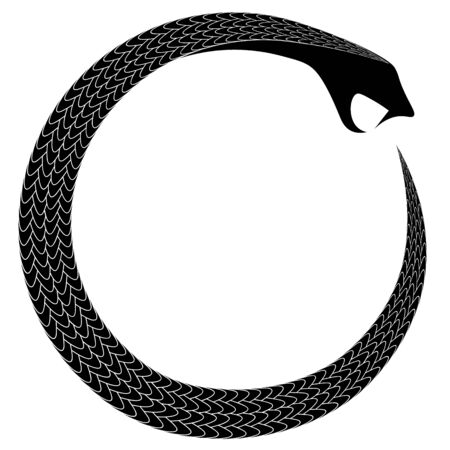 ancient occult and alchemical symbol coiled snake eating tail ouroboros  イラスト・ベクター素材