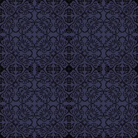 élégant modèle sans couture avec motif oriental noir sur fond bleu foncé