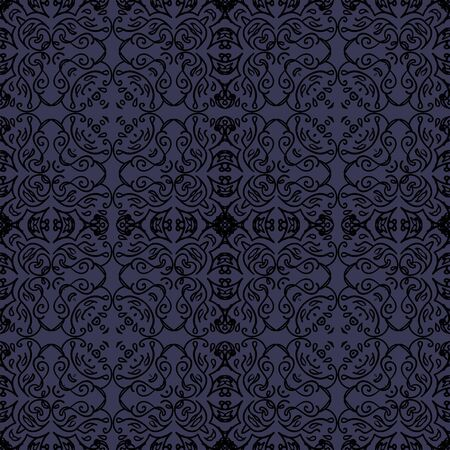 elegant seamless pattern with oriental black motif on dark blue background
