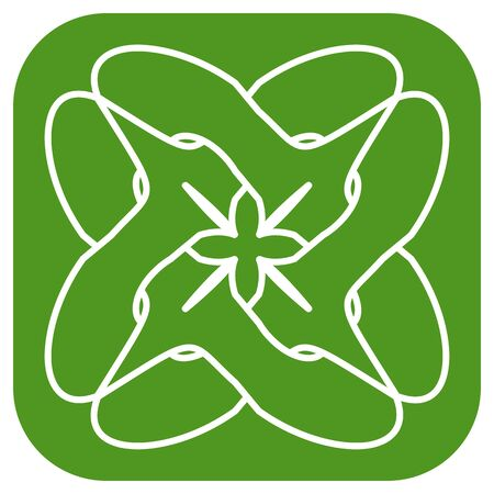 simple green outline floral icon  with entwined circle Vectores