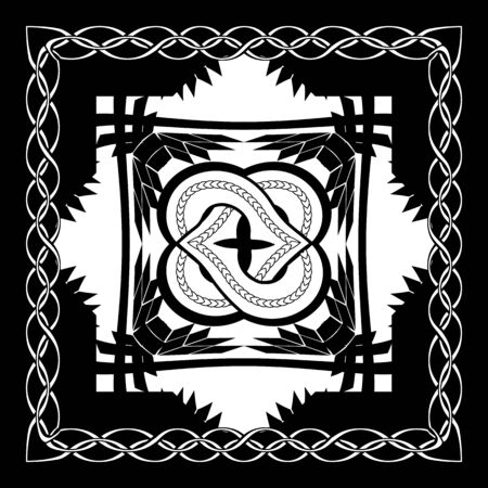abstract monochrome gothic illustration with knotted flower in the black square framed by chain Vectores