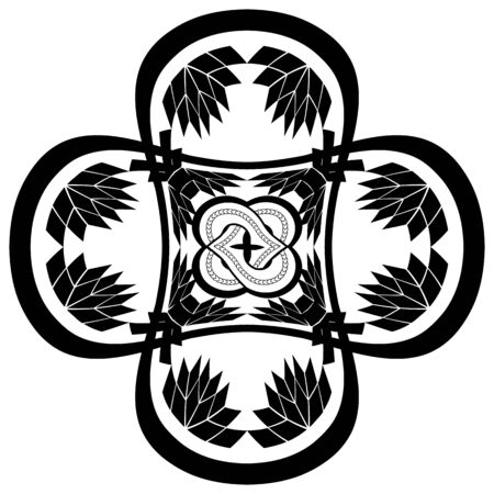 abstract black gothic illustration with knotted flower in the ornamented cross