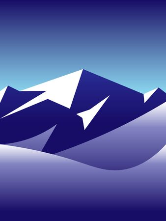 beautiful winter landscape vector illustration of arctic snowy mountains peak Illustration