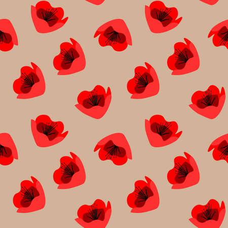 cute bright floral seamless pattern with red poppy flowers on beige background