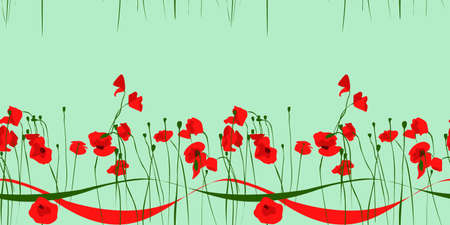 cute horizontal seamless pattern with red poppy flowers and ribbons 矢量图像