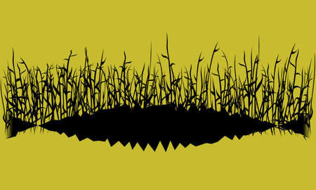 black silhouette of lake or swamp grass on yellow sky background