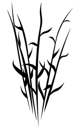 isolated stencil of black silhouette of meadow or swamp grass stems Vector Illustratie