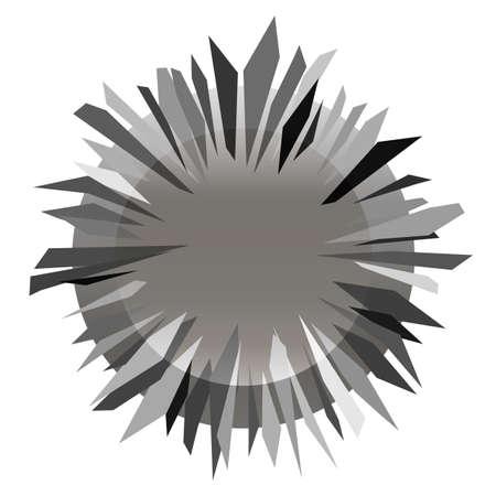 abstract monochrome grey gradient icon with sharp thorny metallic circle