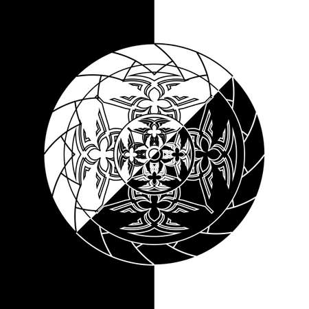 black and white inverse abstract monochrome circle in tribal style 矢量图像