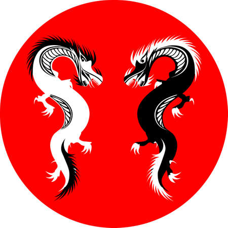 two black and white dragons on red circle in oriental style 矢量图像