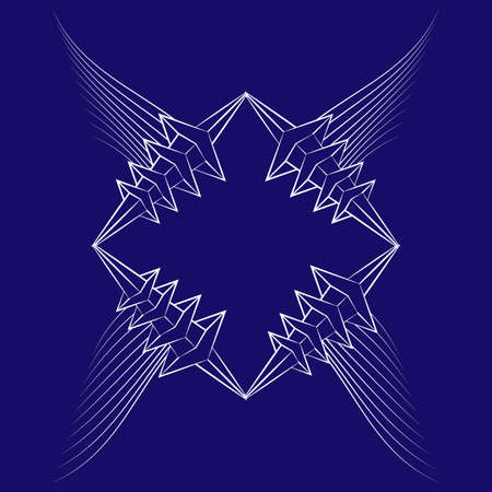 abstract icon with white wings and thorned frame on blue background 矢量图像