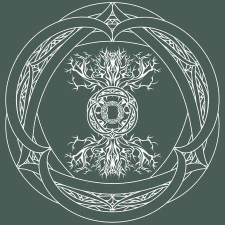 yggdrasil, viking tree of life, in tribal celtic frame on outline green background