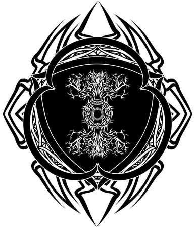 yggdrasil, viking tree of life, in dark celtic gothic tribal frame