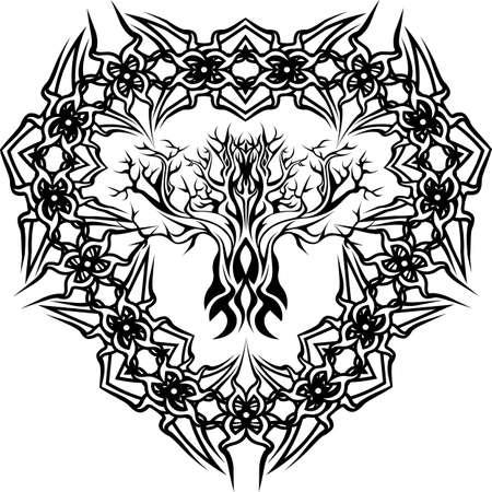 yggdrasil, viking tree of life, in tribal celtic ornamental frame