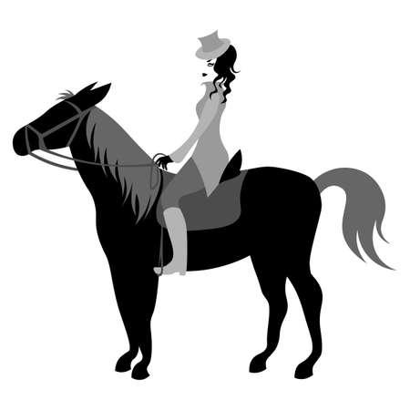 monochrome cartoon cute vintage lady in small hat riding horse Ilustração